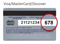 Visa MasterCard Discover CVV2 on back